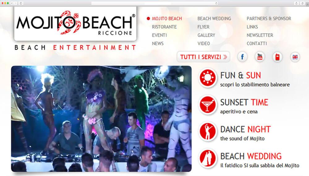 Mojto beach - realizzazione sito web per locale notturno riccione