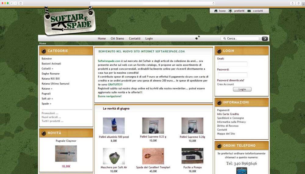 realizzazione e-commerce armi e softair