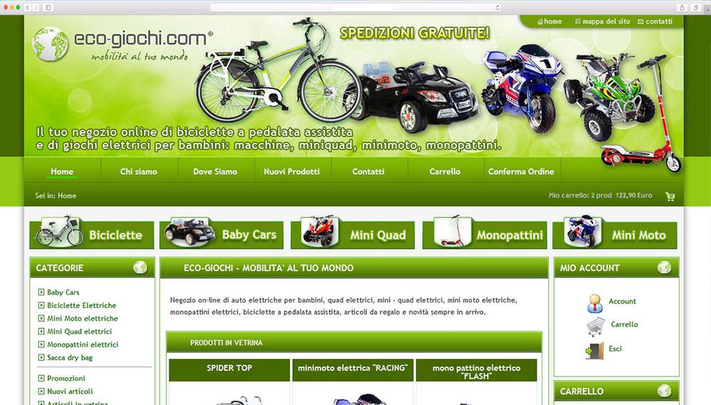 Realizzazione shop online biciclette, giochi elettrici per bambini