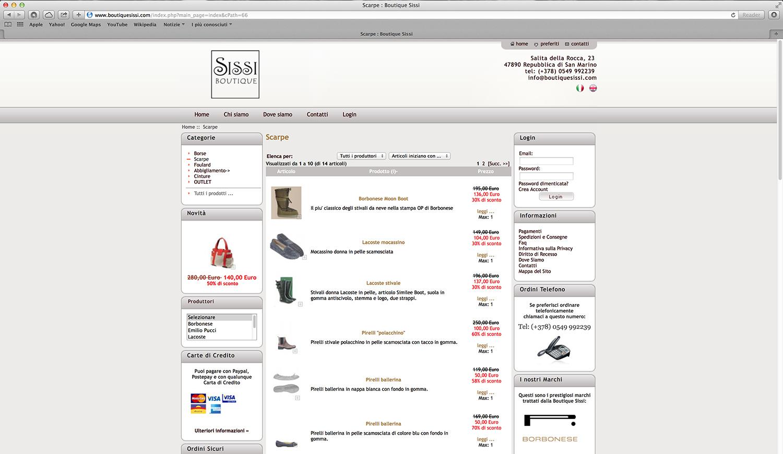 Realizzazione shop online calzature