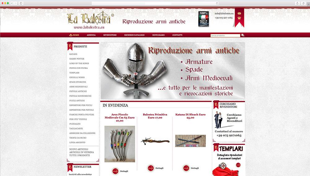 realizzazione e-commerce vendita armi medievali