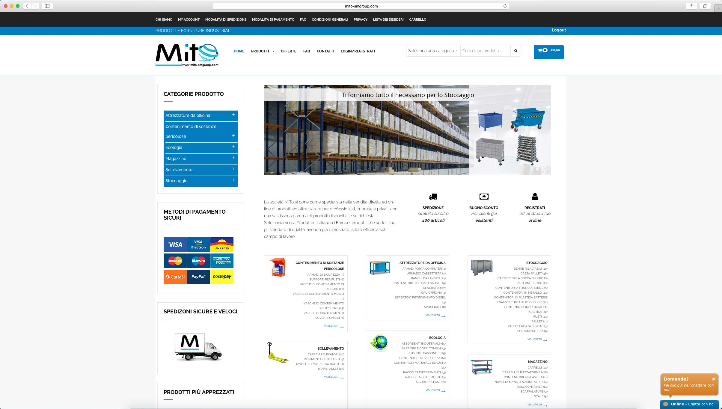 sviluppo e-commerce prodotti e attrezzature per professionisti