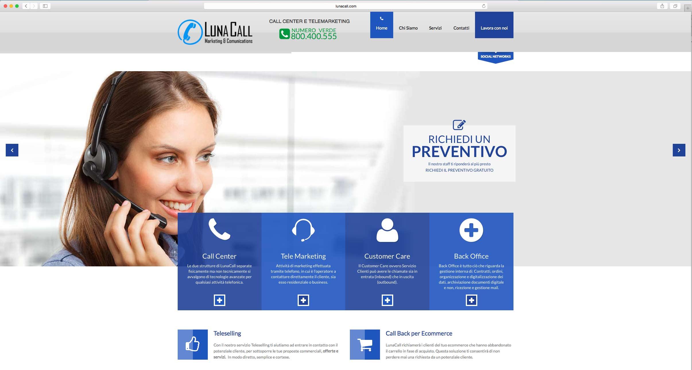 Realizzazione sito web per azienda call center