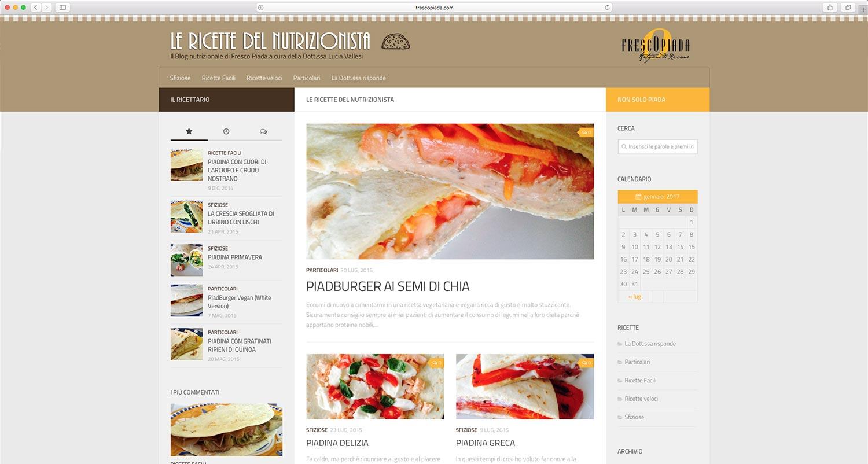Sviluppo blog ricette nutrizionali