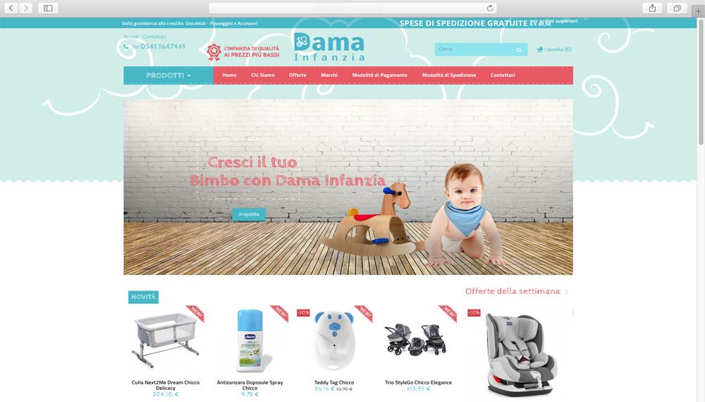 Sviluppo ecommerce prodotti per infanzia