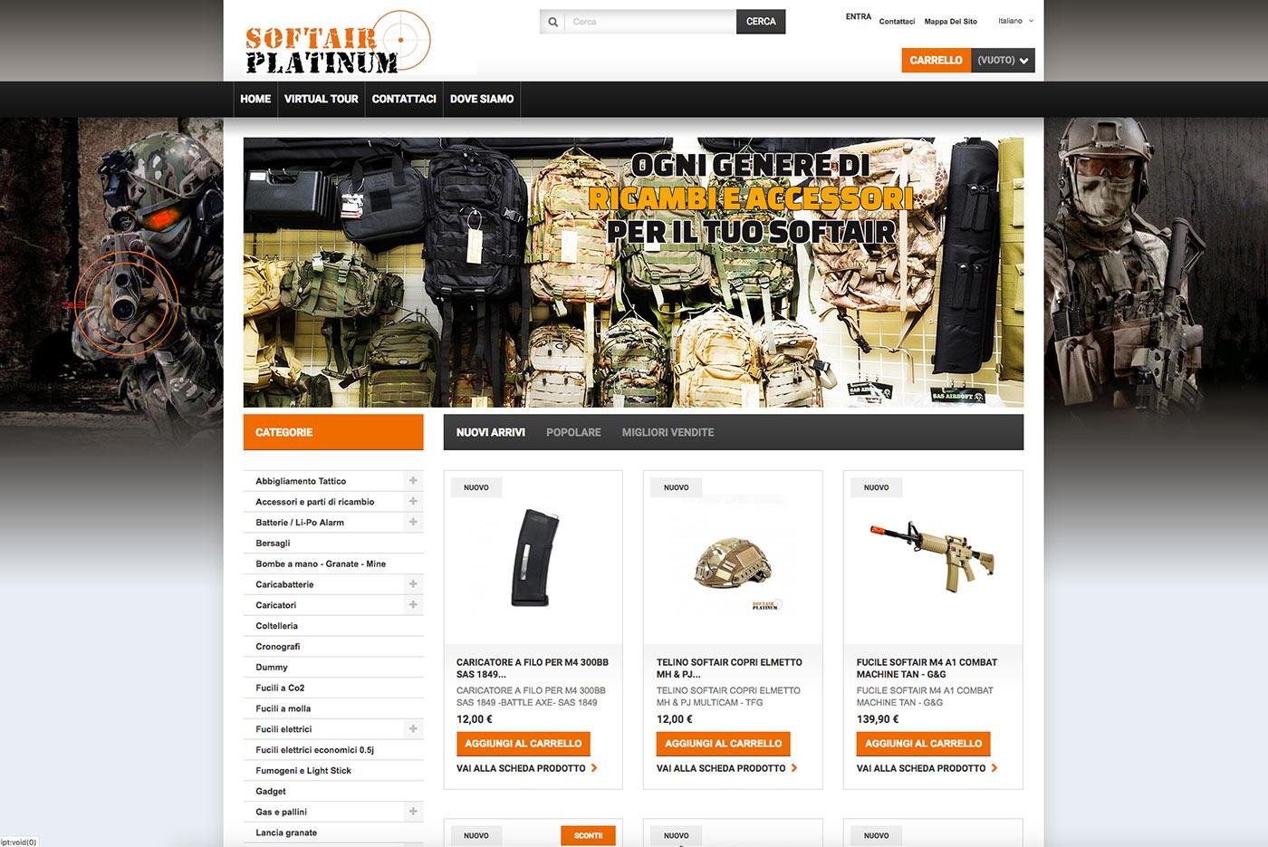 realizzazione e-commerce armi softair