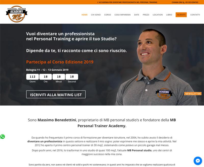 MBpersonaltrainerAcademy Realizzazione sito web personal trainer