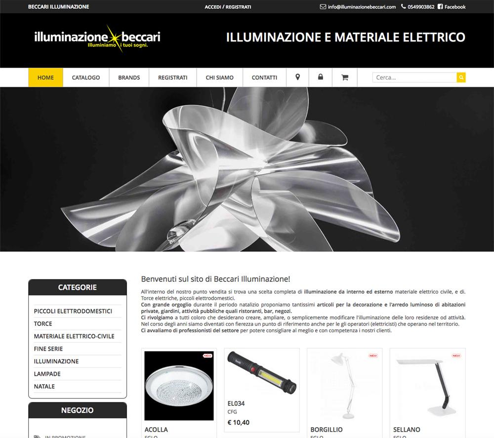 sviluppo ecommerce prodotti illuminazione CMS proprietario